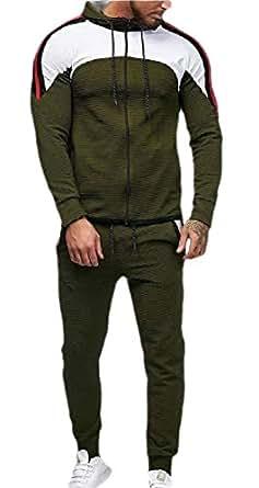 Mens Tracksuits Jogger Long Sleeve Full Zip Hoodie Sweatshirt Joggers Pant Sportsuit Army Green 2XL