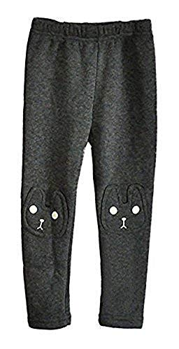 Kids Girls Winter Leggings Bunny Printed Thick Warm Fleece Pants for 2-7 Years Ash Black,130/5-6 -