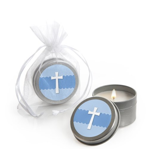 Delicate Blue Cross - Baptism Candle Tin Party Favors (Set of 12) Blue Cross Candle Favors