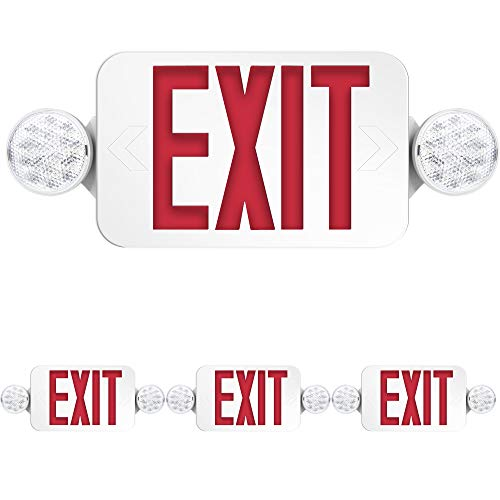 Freelicht 4 Pack Exit Sign with Emergency Lights, Two LED Adjustable Head Emergency Exit Light, Exit Sign for Business