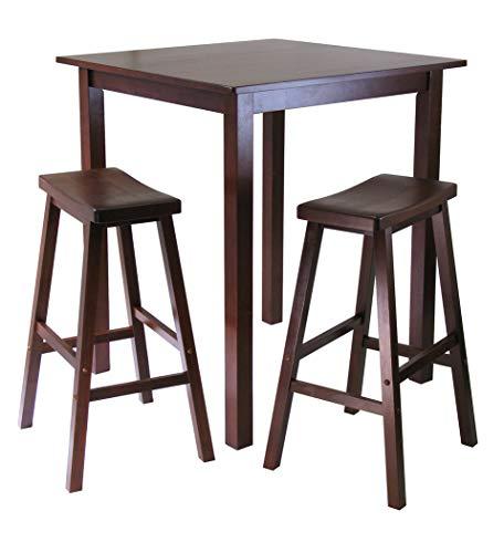 Wood & Style Premium Décor 3-Pc Square High/Pub Table Set with 2 Saddle Seat Stools ()
