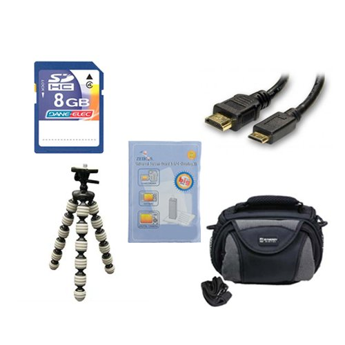 Canon Legria mini X Camcorder Accessory Kit includes: KSD48GB Memory Card, SDC-26 Case, HDMI6FM AV & HDMI Cable, ZELCKSG Care & Cleaning, GP-22 Tripod by Synergy Digital