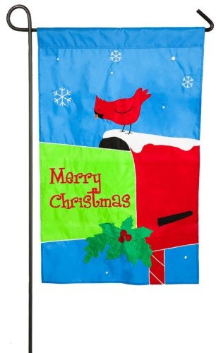 Cardinal Christmas Card Mailbox Applique Garden Flag