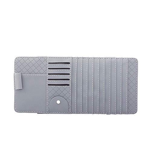 XYQC Car Sun Visor CD DVD Storage Bag Credit Card Pen Sunglasses Holder Clip Bag for Auto Vehicle Truck (Black),Gray ()