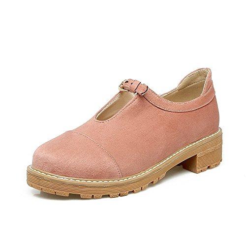Misimlar Women's Pu Buckle Round-Toe Low-Heels Soild Pump-Shoes, Pink, 41