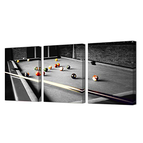 HOMEOART Billiards Pictures Art Print on Canvas Pool Room Wall Decor Framed Prints Gallery Wrap Ready to Hang 12x16inchx3Panels (Room Decor Billiards)
