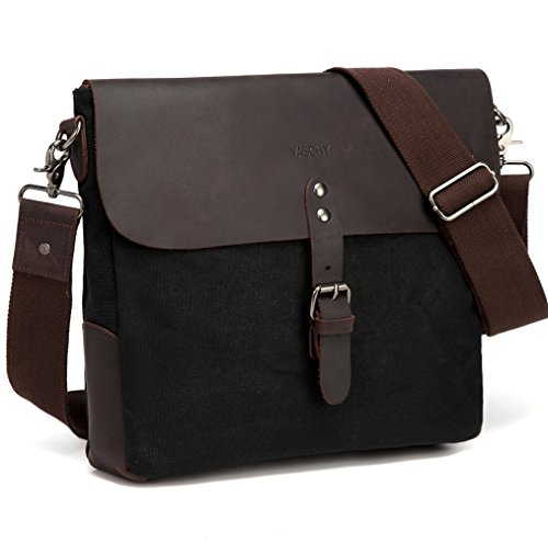 - Small Messenger Bag,Vaschy Vertical Vintage Genuine Leather Waxed Canvas Classic Flap Crossbody Shoulder Bag for Men in Black for Ipad