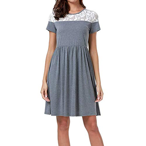 Mikilon Women's Cap Sleeve Lace Neck Midi Casual Flared Swing Tank Dress Gray