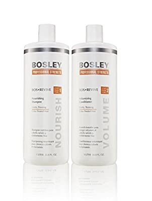 Bosley Revive Shampoo & Conditioner For Visibly Thinning Color Treated Hair Liter Duo (33.8 oz)