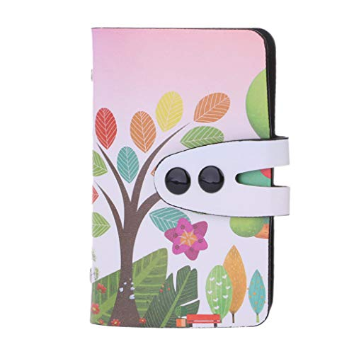 - linlin Unisex PU Leather Slim Printed Bank Credit ID Business Card Holder Case Wallet Tree and Flowers