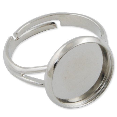 50pcs Adjustable Shallow Bottom Imitation Rhodium Plated Ring Base Setting With 12mm Round Pad
