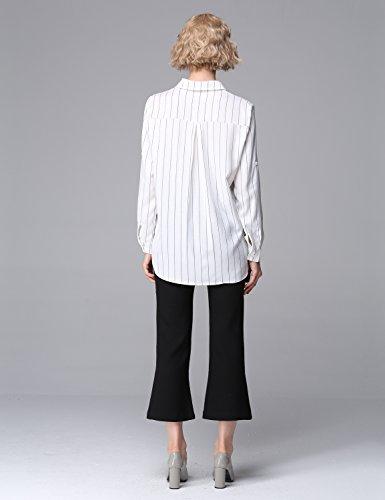 Relaxfeel Shirt à manches longues Coutures Lapel Pinstripe Linen Blouses