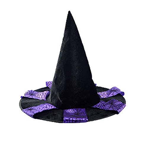 Kshion Adult Black Witch Hat For Halloween Costume Accessory Cap (Plaid Witch)