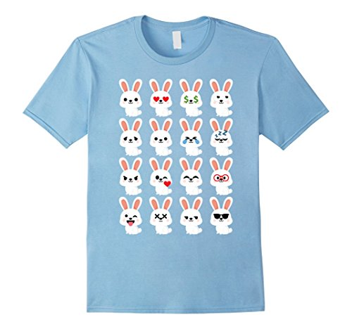 Men's Bunny Emoji Many Face Emotion Shirt T-Shirt Tee XL Baby Blue