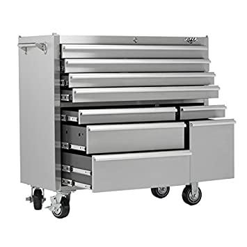 Viper Tool Storage V4109SSR 41 Inch 9 Drawer 304 Stainless Steel Rolling  Tool Cabinet