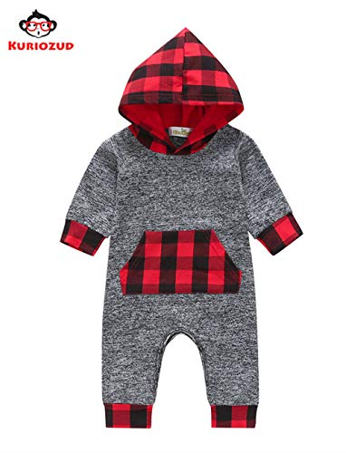 - Christmas Baby Boy Clothes Toddler Baby Boy Hoodie Romper Bodysuit Pajama Outfit Plaid