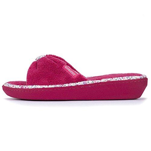 Zapatillas sandalias con tacón para mujer Isotoner Frambuesa