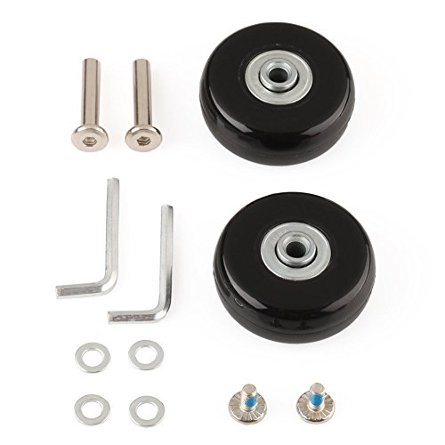 F-ber Luggage Suitcase Wheels Replacement Kit 45mm x 18mm with ABEC 608zz Inline Outdoor Skate Replacement Wheels, One Set of (2) Wheels (OD:45 W:18 ID:6 Axles:35)