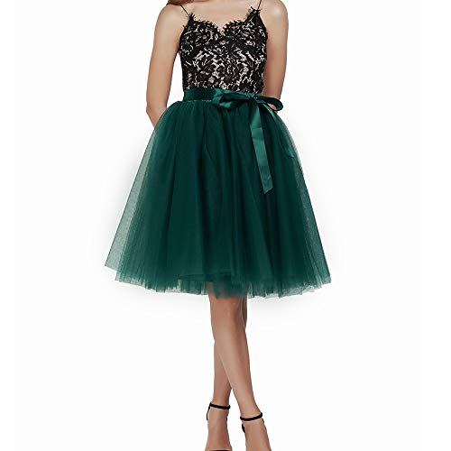Women's High Waist Princess A Line Midi/Knee Length Tulle Pleated Skirt for Prom Party (Free Size, DarkGreen)
