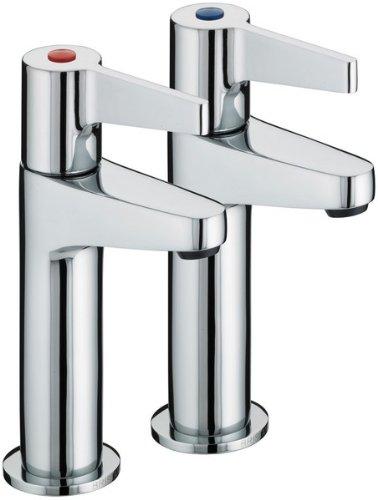 Bristan DUL HNK C Design Utility Lever High Neck Kitchen Pillar Taps, Chrome