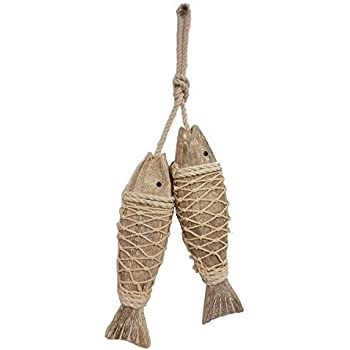 All Seas Imports Set of (2) HANDCARVED Distressed Look Wood Indoor/Outdoor Hanging Fish!