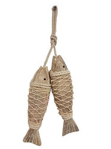 (All Seas Imports Set of (2) HANDCARVED Distressed Look Wood Indoor/Outdoor Hanging Fish!)