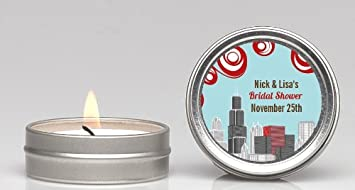chicago skyline bridal shower candle favors