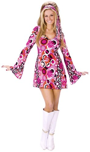 FunWorld Women's Feelin' Groovy, Pink, M/L 10-14 (Best 70s Costumes)