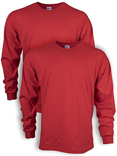 Gildan Men's Ultra Cotton Adult Long Sleeve T-Shirt, 2-Pack, red, Large
