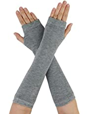 uxcell Women Elbow Length Arm Warmer Gloves Thumbhole Fingerless 1 Pairs Grey