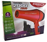 Kiss Products Red Ceramic 2000 Watt Turbo Dryer Plus 3...