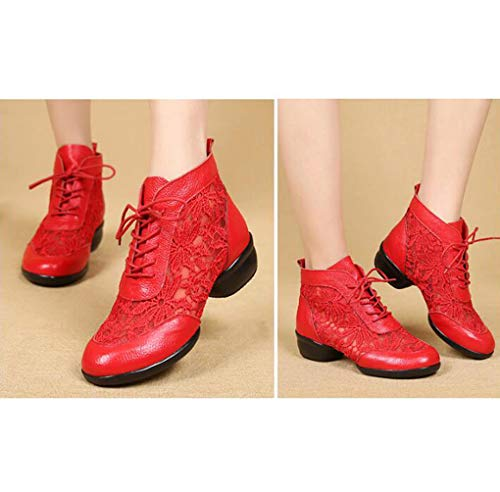 Out Ladies Dance Closed Hollow Shoes Toe Jazz Breathable Practice Red Leather Modern Dance TWGDH Up Lace Block Shoes Lightweight Trainers Heel pqzxBc
