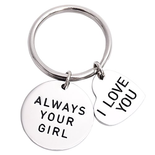 Always Your Girl I Love You Stainless Steel Keyring Boyfriend Gift Wedding Gifts (White)