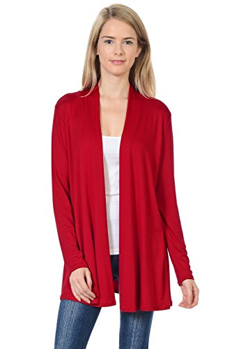 (Pastel by Vivienne Women's Long Sleeve Jersey Cardigan Large Red)
