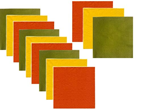 Fall Harvest Colors Disposable Beverage/Cocktail Napkins for Autumn Wedding/Wine Tasting/Party - 3 Colors - 120 Total (Green Plate Olive Dinner)