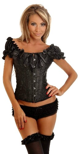 Daisy Corsets Women's Embroidered Peasant Top Corset, Black, 3X