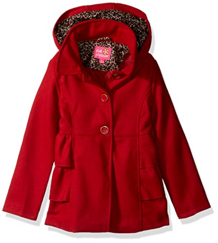 Pink Platinum Girls' Little Side Ruffles Wool Jacket, Red, 4 ()