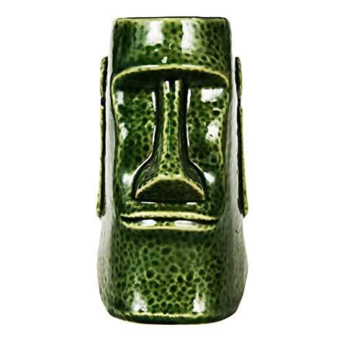 Pigeon Fleet 630 ml Funny Tiki Mug Ceramic Cocktail Cup Island Themed Party Drinkware Decor, Moai ()