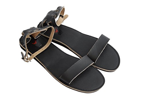 Womens Ladies Natural Calf Leather Sandals with Hard and Flexible Sole Black WS1mR2C
