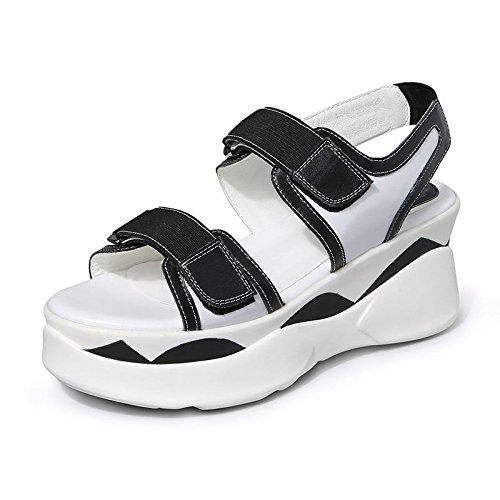 Deportes Velcro Las Ocio Zapatos Zapatos Plataforma Lin Femenil Sandalias De Xing Y Alumnas black Sandalias Verano Nuevos Mujer Planos B6qTwwa1