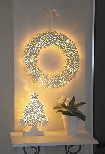 Star 270–52Schneeflocke Wreath Kerzenständer 11LEDs warm Holz warmweiß 45x 45cm