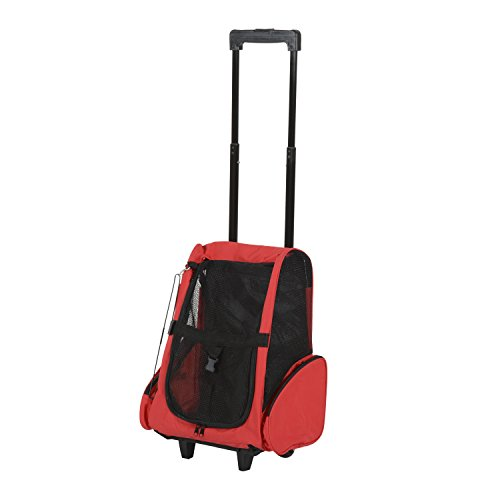PawHut Pet Travel Backpack Bag Cat Puppy Dog Carrier w/ Trolley and Telescopic Handle Portable Stroller Wheel Luggage Bag (Red)