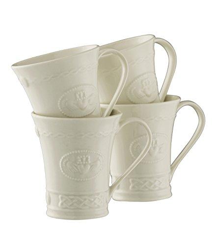 (Belleek Pottery Claddagh Mugs (Set of 4), White )