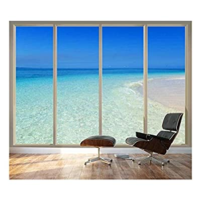 Unbelievable Work of Art, Large Wall Mural Tropical Beach Seen Through Sliding Glass Doors 3D Visual Effect Vinyl Wallpaper Removable Decorating, Made For You