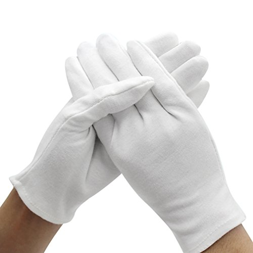 Amariver White Cotton Gloves, 6 Pairs 9.4'' Extra Large Size Thicker Works Lining Gloves for Coin Jewelry Silver Inspection Formal Marching Band Parade, 12 Pieces Gloves in Total ()