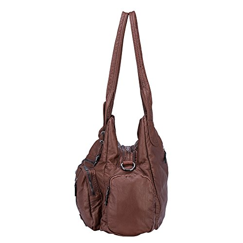 Classic Women Hobo Brown Purse Handbag for Shoulder Soft Crossbody Khaki Bag Leather Bag Washed rAwxrqY6P
