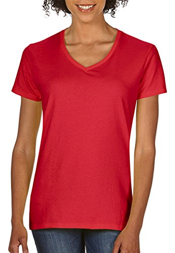 Women Discount (Gildan Heavy Cotton Ladies' V-Neck T-Shirt, Red, X-Large)