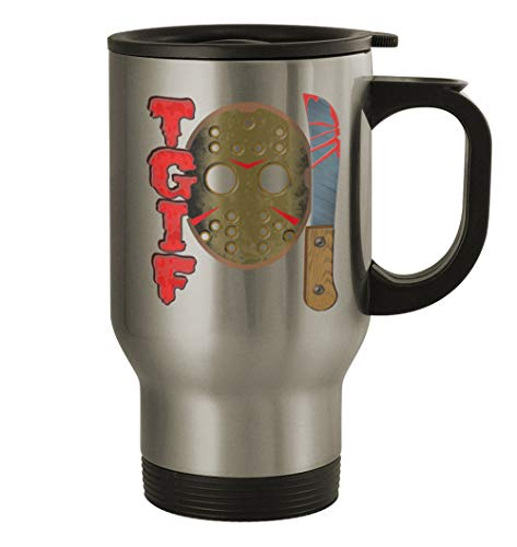 TGIF 13th #341 - Funny Humor 14oz Silver Travel Mug -