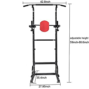 Relife Sports Power Tower Workout Dip Station for Home Gym Strength Training Fitness Equipment by Relife Sports