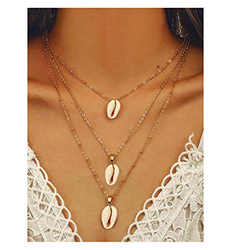 (CEALXHENY Bohemian Sea Shell Pendant Chokers Necklaces Multi Layer Conch Necklace Collar for Women Beach Jewelry Accessories (D White)